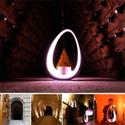 Karim Rashid's Globalight for Veuve Clicquot ~ made for some incredible images when used as lanterns as our group explored the roman limestone caves below Reims where the champagne is made...