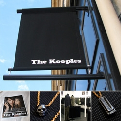 The Kooples ~ a fun new parisian line that's a bit london rocker meets saville row with a parisian twist... and beautifully simple stores with fun shopping bags!