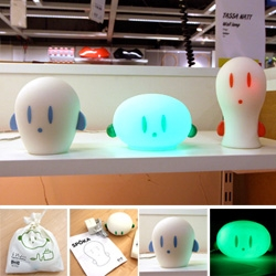 Up close with the IKEA Spoka rechargeable cordless sillicon ghosty lights where you squish its head to light it up ~ and surprisingly adorable packaging pouch!