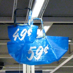 IKEA's Big Blue 59 cent Bag now has a MINI! Here are some pics of the new 49 cent mini totes with the same double strap designs...
