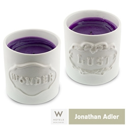 The W Hotels are launching their 2008 Design Dreams Package in collab with Jonathan Adler ~ take a sneak peek at the gorgeously playful ceramic Wonder/Lust Candle and Key Keeper exclusives!