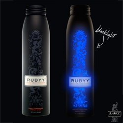 Rubyy ~ blood orange energy drink in the gorgeous matte black aluminum bottle... that glows under the black light, AND tastes amazingly un-energy-drink-like... also a perfect addition to drinks!
