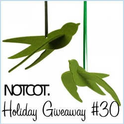NOTCOT Holiday Giveaway #30: Branch Home is giving away a set of 8 beautiful eco-friendly felt swallows made in germany ~ whether you hang them in your tree, car, or on a present is up to you!