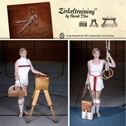 Zirkeltraining ~ a line of german messenger bags, laptop sleeves, and wallets made from recycled vintage 1950's gymnastics pummel horses, floor mats, rescue nets, and more... think of where that's been!