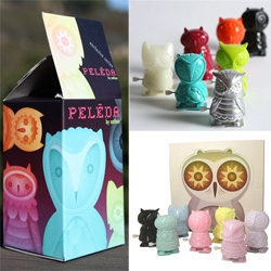 Nathan Jurevicius' Peleda Owl Wind Up Blind Box Toys by Toy Tokyo!!!! There is the pastel set, and the more vibrant urban outfitters exclusives ~ both are adorable and GORGEOUS packaging!!!