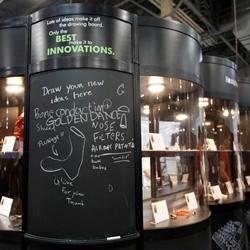 On hilarious old school technologies (chalk boards) paired with the latest and greatest (CES Innovations Design + Engineering Awards)... see the silly graffiti/ugc doodles that showed up on their idea boards!