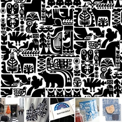 Sanna Annukka's Marimekko Kaneleen kutsu pattern ~ so many creatures beautifully portrayed ~ it's an amazing wallpaper, and the press kit came in a tote of the black and white version! Found in a shipping container...