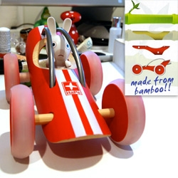 Bamboo E-Racer ~ awesome toy car for kids that's eco-friendly and pretty cute too - some weird packaging though... see the closeups!