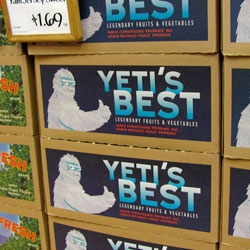 Yeti's Best Fruits & Produce!!! Whole Foods has some really fun produce box graphics...