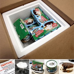 Who knew a box from Ben & Jerry's would turn into sticking my thumb into little tubs of ice cream, playing with dry ice, making videos and consuming FLIPPED OUT! Check out this intriguing new packaging...