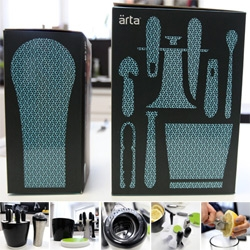 Arta Brio Bar Tools set (efficiently nested into an ice bucket) ~ and Cocktail Shaker with built in jigger and strainer! Nice packaging graphic design.