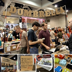 on fun booth design at SDCC ~ i love how much can be done with understated cardboard and markers ~ recession/hobo chic booth by Dumbrella ~ and lots of fun goodies too