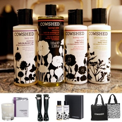 Cowshed! You know i can't resist lovely black and white vector graphics with a splash of color... combine a lovely line of spa products with a nice story and fun stores, and cool gift packaging?