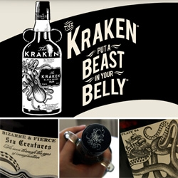 "The Kraken Rum ~ you've seen the packaging and website ~ but close up details on the bottle are a must! How can you NOT drink from a bottle that says ""As seen through the eyes of imagination"""