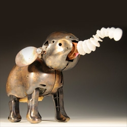 Moss in association with Edelman Arts presents Remains by Cathy McClure ~ she deconstructs robotic animal toys ~ recasts the pieces in bronze and reconstructs it... see all the creatures!