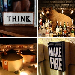 My favorite 'Make Fire' button (it starts the many amazing communal fireplaces) ~ yurts (you must see the geometric gel domes!) ~ bear behind the bar ~ 'THINK' ibm signage and more at the Ace Hotel Palm Springs