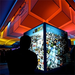 CES showcased Intel's Infoscape - an incredible huge touch screen UI showing spinning browsable cubes of 576 live links of information! See the pictures and video ~ beautiful UX.