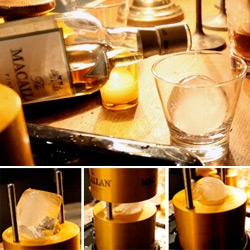 "Macallan Ice Ball ""Machine"" ~ runs on gravity and the frictional heating capacity of copper at room temperature with the icea... within moments perfect spheres!"
