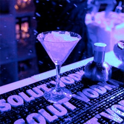 My first cosmo made with SNOW ~ and it was snowing on the outdoor furniture made of ice by the fire on the patio... Amazing Absolut party at Sundance for the launch of their Spike Jonze film.