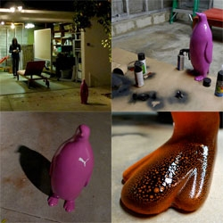 Sometimes you can't help taking pictures of a stalker penguin, spray painting penguin parts, and experimenting late at night... Another adventure of the Puma Penguins...