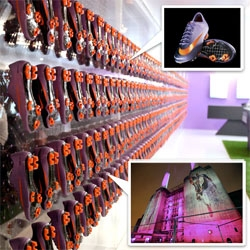 Nike Mercurial Vapor SuperFly II tonight in Battersea Power House London ~ awesome purpleness? glowing wall of shoes? cement+glass? + feels like apple store in a shipping container?  See the cool display as well as shoes!