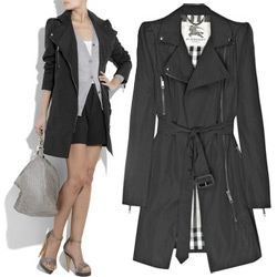 Burberry Crepe Biker Style Trench ~ they update the classic crepe trench with a touch of motorcycle jacket styling... from fun zips to a black and white lining and more!