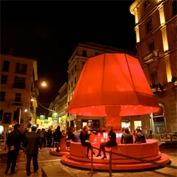 Citroën DS3 Design Driver is a HUGE red lamp of a lounge installation at Montenapoleone in Milan for the Salone celebrating the launch of the new DS3 in italy.