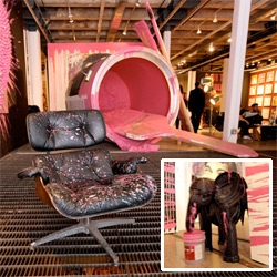 A peek at the Mr Brainwash Icons Remix show in NYC ~ a look at the actual street art as well as the gallery space... from graphics to creatures molded from tires to designer chairs to matchbox packaged life size taxi...