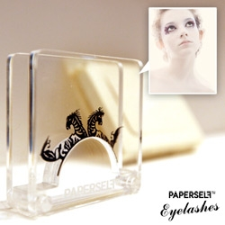 Paperself Eyelashes ~ intricately cut paper false eyelashes inspired by the art of chinese paper-cutting. Very cool packaging/displays and stunning to see in person on! (More wearable than i expected!)
