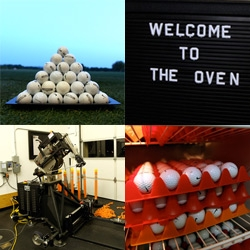 A look into the testing facilities of Nike Golf ~ The Oven. From a fridge full of balls, to robotic golfers, to a garage like putting green that opens into a driving range and short course with water features!