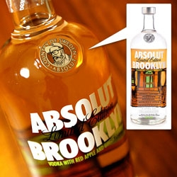 Absolut Brooklyn ~ a red apple and ginger flavor in collaboration with Spike Lee ~ and they even Spike Lee'd the classic Absolut SEAL! See packaging close ups!