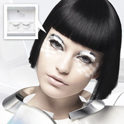 Shu Uemura's Neo Reflector False Eyelashes ~ futur-chic in a mirrored faceted discoball like fashion
