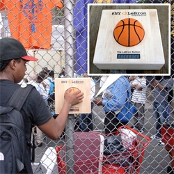 Can 12yr old twins + twitter + real world PUSHABLE basketball BUTTONS in NY bring LeBron to the Knicks? #NY<3LeBron campaign enabled by PokeNY (Peek at how they work as well!)