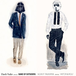 """John Woo, """"He Wears It"""" : and illustration series where he has Darth Vader in Band of Outsiders, Scout Trooper in Viktor & Rolf, Boba Fett in Supreme, and more! See jar jar binks in maison martin margiela!"""