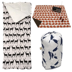 Sleeping bags, picnic blankets, and more with cool animal prints from Anorak.