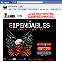 The Expendable GAME! A wickedly cool facebook-based 8 bit game launched for the promotion of the upcoming movie. A fun-packed homage to NES oldies like Contra.