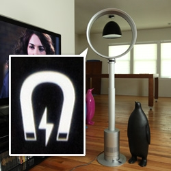 Close up with the Dyson Pedestal Fan ~ there are fun design details like a magnetic remote, easy tilting, super easy height adjustments...