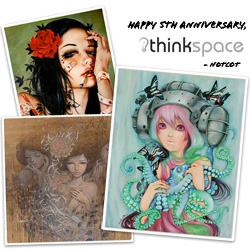 Happy 5th Anniversary, Thinkspace Gallery!!! If you're in LA, the opening is tonight! Amazing pieces in this celebratory group show!