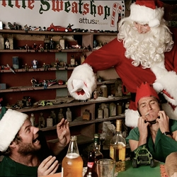 Old St. Nick mistreating his elves in Santa's little sweatshop.  Holiday photo shoot for Attus Apparel