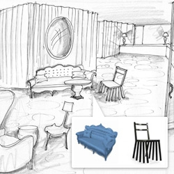 Mondrian Soho just opened, here's a peek at the sketches that inspired it's interiors... taking queues from the 1946 La Belle et la Bête by Jean Coucteau.