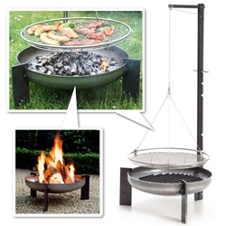Manufactum Schwenkgrill Rohstahl (Raw steel pivot grill) and Feuerschale Rohstahl (Crude steel fire bowl) - great, simple design - beautiful details!