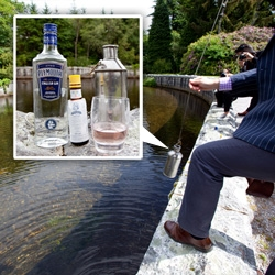 Plymouth Pink Gin ~ A cocktail that's literally straight from the source: water fresh out of the picturesque reservoir that supplies the Plymouth distillery, bitters, and Plymouth gin!