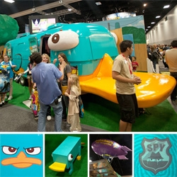 Perry the Platy-BUS ~ amazing making of video of the conversion from trailer to platypus as well as looks into the impressively branded Phineas and Ferb booth and merchandise at SD Comic Con. (And awesome platypus stools! and limited ed. toys)