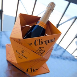 Veuve Cliquot Clicq'up Origami Ice Bucket in person! It is so flat and portable, i've had it in my laptop sleeve... and now popped up on the balcony in Santa Cruz with some bubbly!