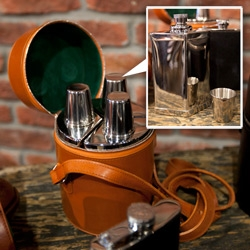 Beautiful Daines & Hathaway Triple Bar Set ~ a close up look at the leather case and metal flasks and shot glasses as spotted at Stitched at the Cosmopolitan in Las Vegas.