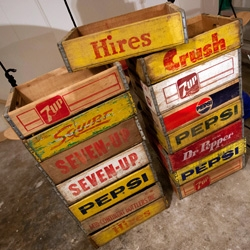 Random roadtrip instigated by craigslist tonight leads to the acquisition of a pile of beautiful vintage wooden soda crates! Awesome details.