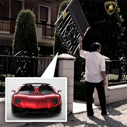A peek at the stunning design details of the one of a kind Lamborghini Aventador J... (the rear view mirror, the wheels, the lines!) and a look at their hilarious homepage gate...