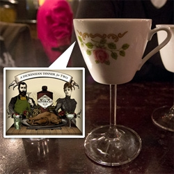 A sumptuous feast Dickensian feast with Hendrick's Gin and the Young Turks at a pop-up dining room perched above an East London pub. The perfect pairing of delicious cocktails with a delectable tasting menu! Not to mention amazing drinksware!