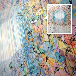 Sage Vaughn's moth filled drippy paintings seen at Avant/Garde Diaries Transmission LA: A/V Club at MOCA.