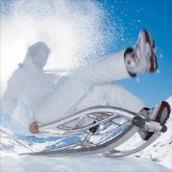 Incredibly high tech looking folding sled with shock absorbers...